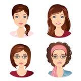 不同的女性发型 对于女孩,年轻成人,有棕色头发的妇女 库存图片