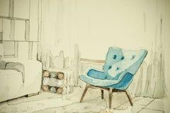 不同的家具水彩水彩画墨水徒手画的剪影透视建筑图画  免版税库存照片