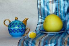 不同的对象的五颜六色的静物画照片:茶罐, p 库存照片