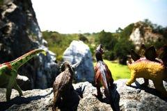 不同的小组一起站立在岩石的恐龙玩具 免版税库存图片
