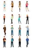 不同的少年用不同的样式和姿势 库存例证