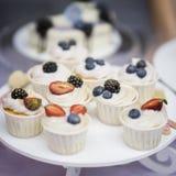 不同的开胃果子馅饼、蛋糕篮子与白色奶油和新鲜的多彩多姿的莓果,夏天点心与 库存照片