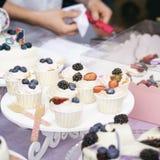 不同的开胃果子馅饼、蛋糕篮子与白色奶油和新鲜的多彩多姿的莓果,夏天点心,手  库存照片