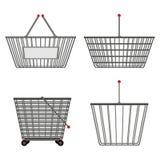不同的形状四个现实金属镀铬物导线空的篮子  例证 向量例证