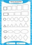 不同的形状大小 基本的了解的形状 踪影和凹道 学龄前孩子的活页练习题 实践的运动技巧 向量例证