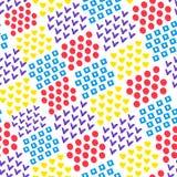 不同的形状心脏和正方形和圈子和壁虱瓦片无缝的抽象几何背景在白色背景的 ?treadled 皇族释放例证