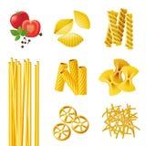 不同的意大利面食类型 库存图片
