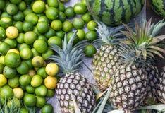 石灰、西瓜和菠萝 库存图片