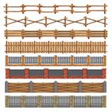 不同的无缝的木头和砖篱芭 向量 库存图片