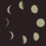 不同的月亮阶段 库存图片
