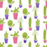 不同的植物,仙人掌 平的传染媒介 无缝的模式 免版税库存照片
