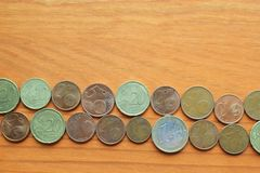 不同的欧洲货币硬币 免版税图库摄影