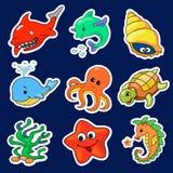 不同的海生物的例证 免版税库存照片