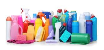 不同的清洁物品 免版税库存照片