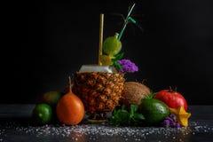 不同的热带水果 菠萝杯子、成熟鲕梨、石榴石和椰子在黑背景 夏天成份 免版税库存照片