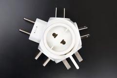 不同的电子插座的适配器 图库摄影