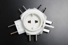 不同的电子插座的适配器 库存图片
