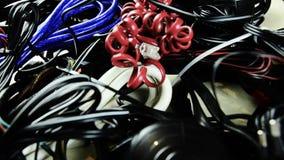 不同的电汇 电,电信,电话 许多导线 影视素材