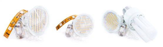 不同的电灯泡(隔绝在白色) 库存图片