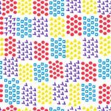 不同的砖形状心脏和正方形和圈子和壁虱无缝的抽象几何背景在白色背景的 ?treadled 库存例证