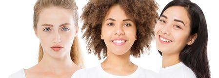 不同的种族妇女亚洲人,非洲人,白种人秀丽皮肤面孔关心 特写镜头画象,女孩拼贴画隔绝在白色 库存照片