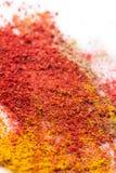 不同的种类东方香料研了红色辣椒粉辣椒姜黄咖喱溢出的白色背景 创造性的概念 免版税库存照片