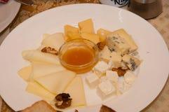不同的种类乳酪在一个盛肉盘切并且说谎用调味汁 免版税库存图片