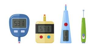 不同的种类测量的血糖水平的电子glucometer 向量例证