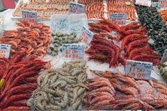 不同的种类虾待售 免版税库存照片