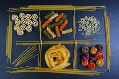 不同的种类食品成分面团、广告的概念的背景,图象在餐馆或市场,集合 免版税库存图片