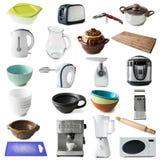 不同的种类厨房器具和商品 免版税库存图片
