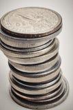 不同的种类在白色背景的硬币 宏观细节 免版税库存照片