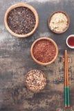 不同的种类米和筷子 图库摄影
