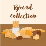不同的种类面包集合 被隔绝的酥皮点心项目顶视图的汇集印刷品或网的 面包店商店菜单 免版税库存图片