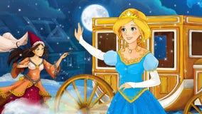 不同的童话的动画片场面-女孩穿戴了肮脏-跳舞在屋子里-有另外的着色页的 库存照片