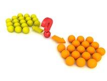 不同的红色球选择两概念队小组 库存照片