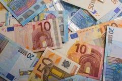 不同的纸欧洲债券笔记背景作为商业系统一部分的 免版税库存图片