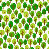 不同的绿色树的无缝的样式在森林传染媒介illu的 免版税库存照片
