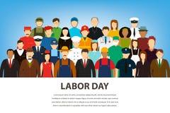 不同的职业的人们 被设置的行业 国际劳动节 平的传染媒介 向量例证