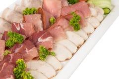 不同的肉开胃菜和快餐 免版税库存照片