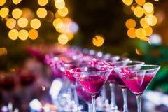 不同的色的酒精鸡尾酒美好的线与烟的在圣诞晚会、龙舌兰酒、马蒂尼鸡尾酒,伏特加酒和其他在部分 免版税库存照片