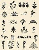不同的花卉四个装饰品模式无缝的瓦片 免版税库存图片
