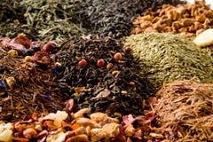 不同的茶类型 免版税库存照片