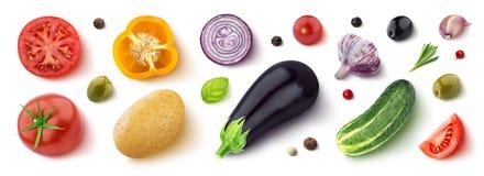 不同的菜、草本和香料,平的位置,顶视图的分类 免版税库存图片