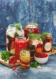 不同的菜蜜饯和腌汁在瓶子的 免版税库存照片