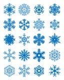 不同的蓝色雪花 库存照片