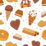 不同的薄酥饼曲奇饼胡扯蛋糕和无缝巧克力可口快餐奶油色点心酥脆面包店食物的传染媒介 向量例证