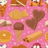不同的薄酥饼曲奇饼胡扯蛋糕和无缝巧克力可口快餐奶油色点心酥脆面包店食物的传染媒介 皇族释放例证