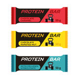 不同的蛋白质酒吧,体育在平的样式的胶原补充 免版税库存照片