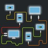 不同的设备 充电的计划 库存照片